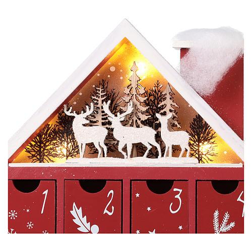 Calendario dell'Avvento in legno forma di casetta con luci 30x40x5 cm 4