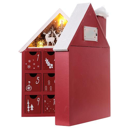 Calendario dell'Avvento in legno forma di casetta con luci 30x40x5 cm 5