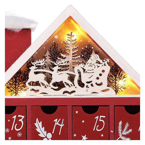 Calendario dell'Avvento in legno forma di casetta con luci 30x40x5 cm 6