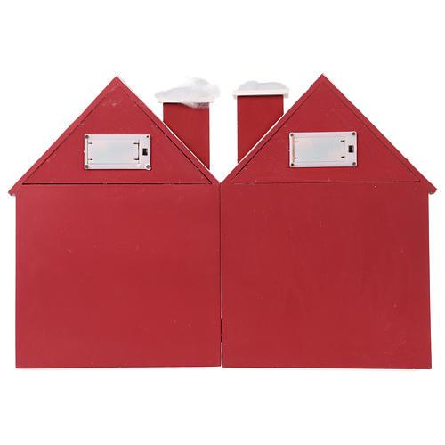 Calendario dell'Avvento in legno forma di casetta con luci 30x40x5 cm 7