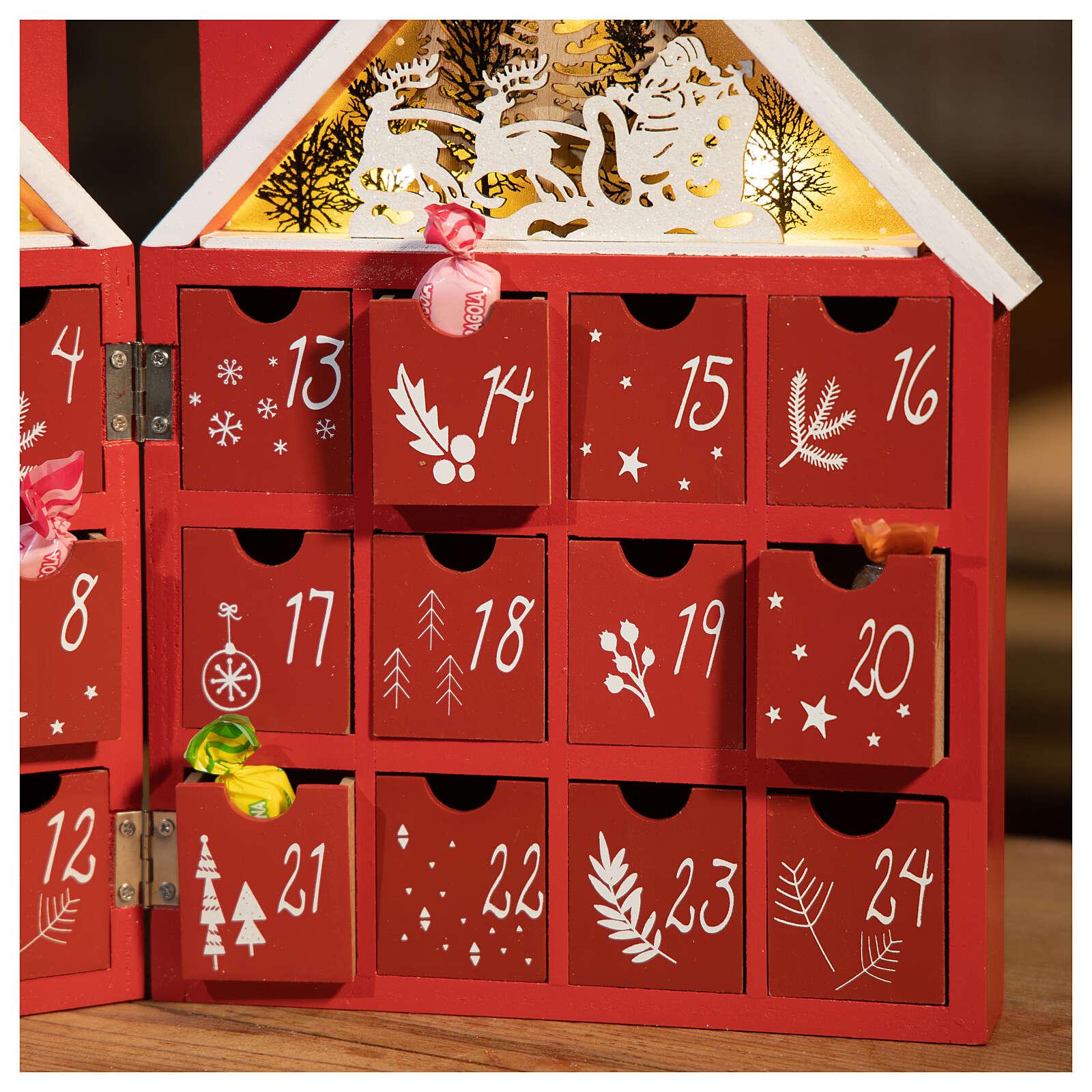 Kalendarz adwentowy z drewna w kształcie domku podświetlanego 30x40x5 cm 3