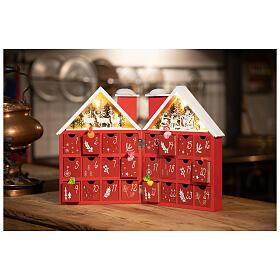 Kalendarz adwentowy z drewna w kształcie domku podświetlanego 30x40x5 cm s3