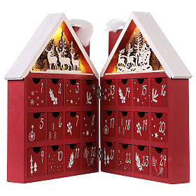 Kalendarz adwentowy z drewna w kształcie domku podświetlanego 30x40x5 cm s5