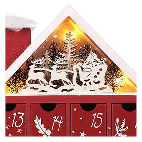 Kalendarz adwentowy z drewna w kształcie domku podświetlanego 30x40x5 cm s7