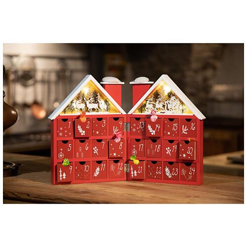 Kalendarz adwentowy z drewna w kształcie domku podświetlanego 30x40x5 cm 1
