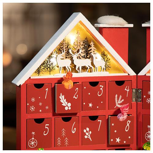 Kalendarz adwentowy z drewna w kształcie domku podświetlanego 30x40x5 cm 2