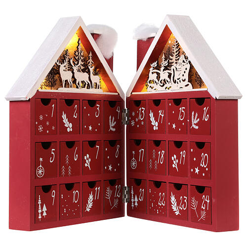 Kalendarz adwentowy z drewna w kształcie domku podświetlanego 30x40x5 cm 5
