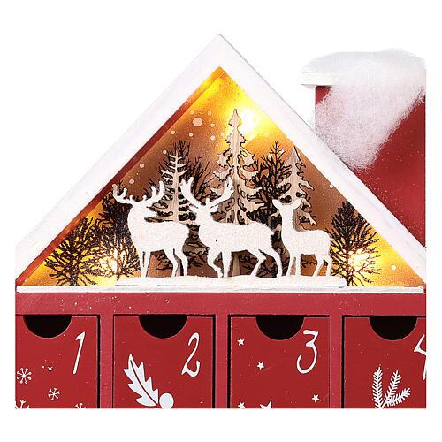 Kalendarz adwentowy z drewna w kształcie domku podświetlanego 30x40x5 cm 6