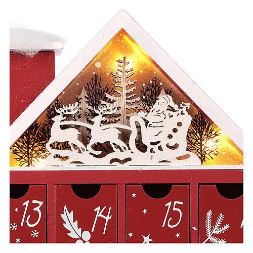 Kalendarz adwentowy z drewna w kształcie domku podświetlanego 30x40x5 cm 7