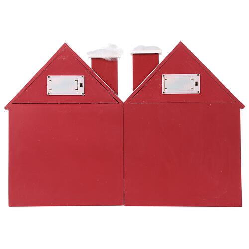 Kalendarz adwentowy z drewna w kształcie domku podświetlanego 30x40x5 cm 9