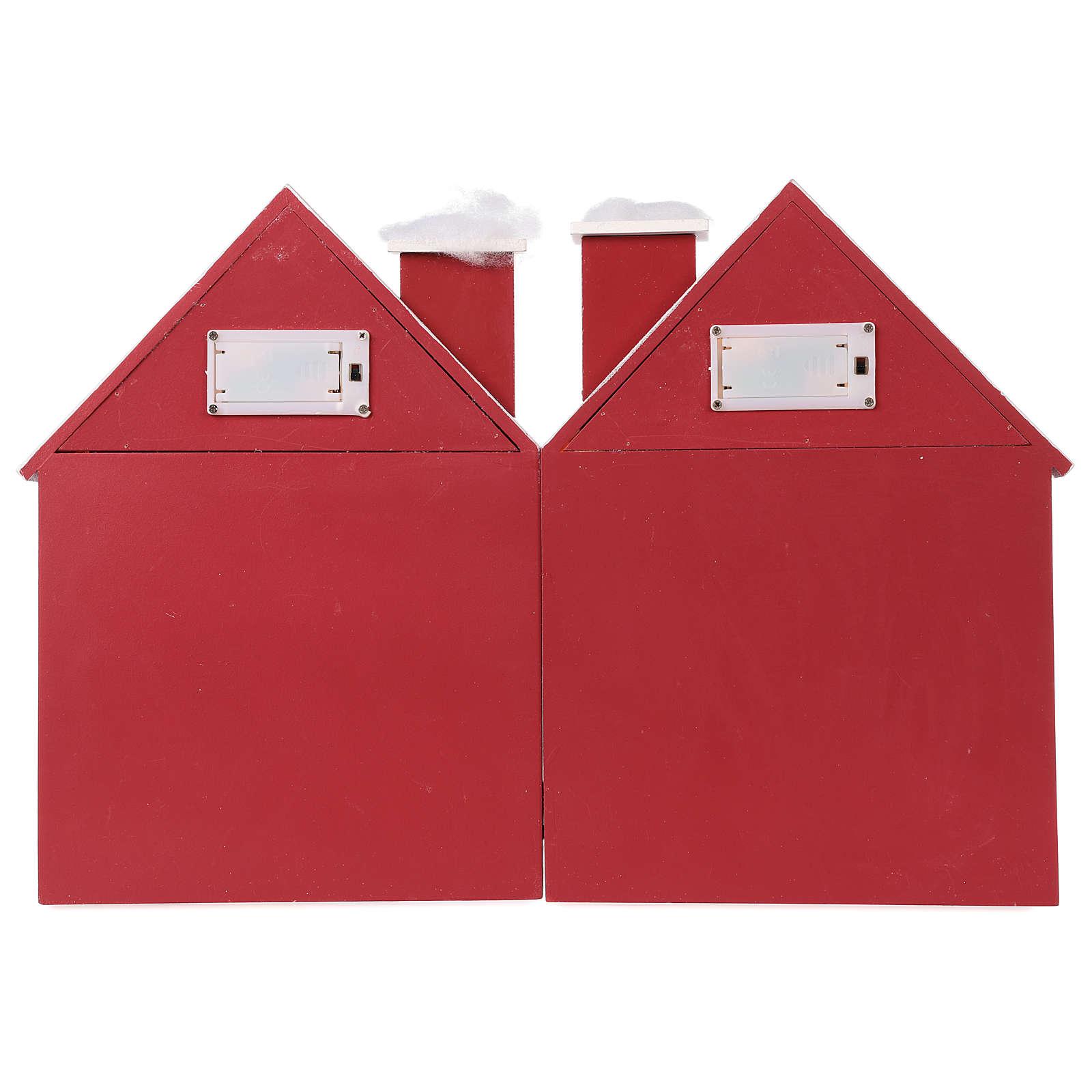 Calendário do Advento madeira casinhas iluminada 30x40x5 cm 3