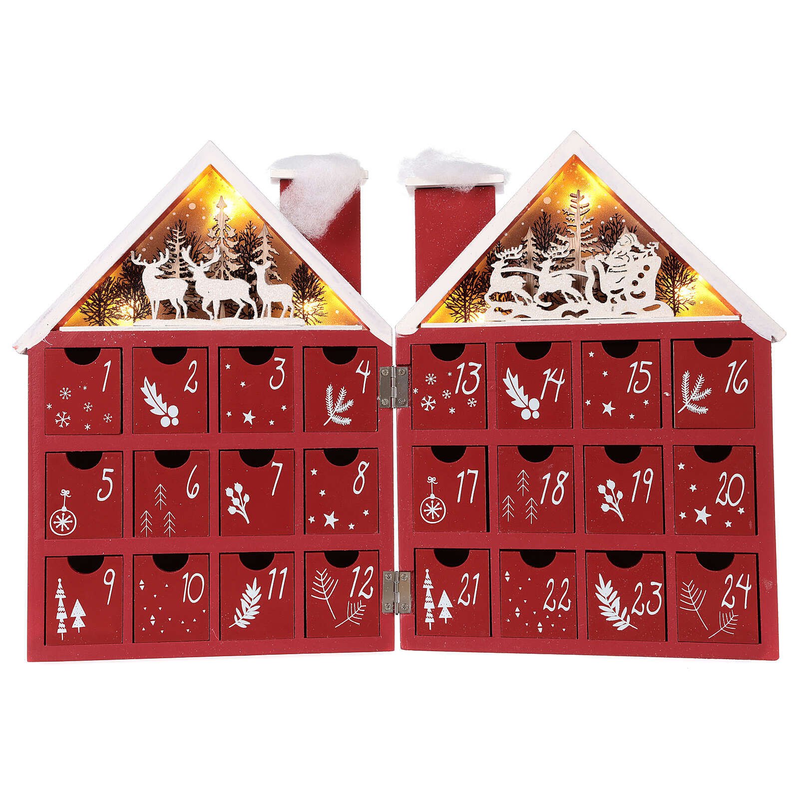 Advent Calendar in wood with boxes with lights 30x40x5 cm 3