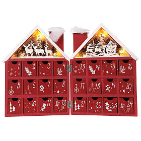 Advent Calendar in wood with boxes with lights 30x40x5 cm s1