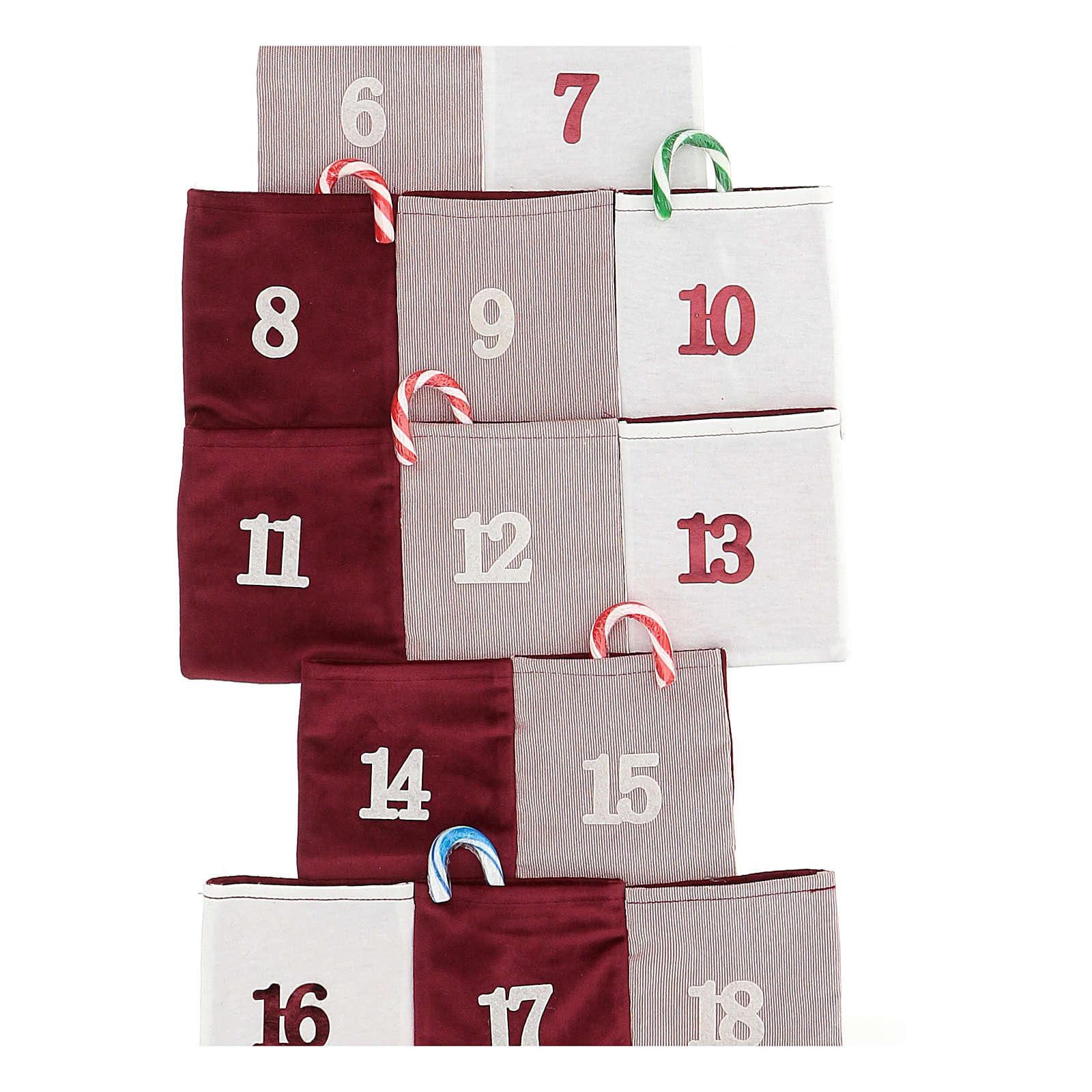 Calendario de Adviento en forma de árbol de tela h 120 cm 3