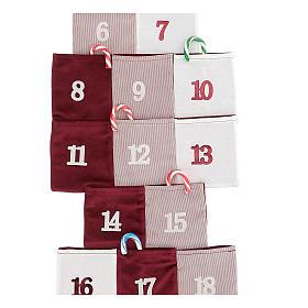 Calendario de Adviento en forma de árbol de tela h 120 cm s2