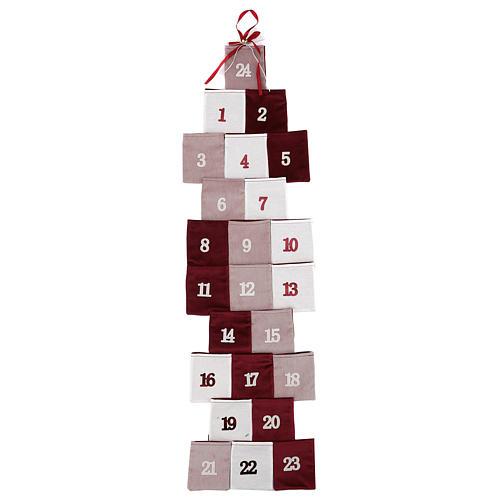 Calendario de Adviento en forma de árbol de tela h 120 cm 1