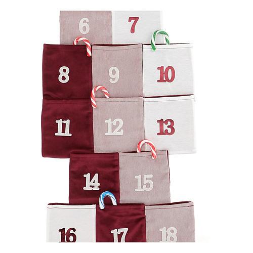 Calendario de Adviento en forma de árbol de tela h 120 cm 2