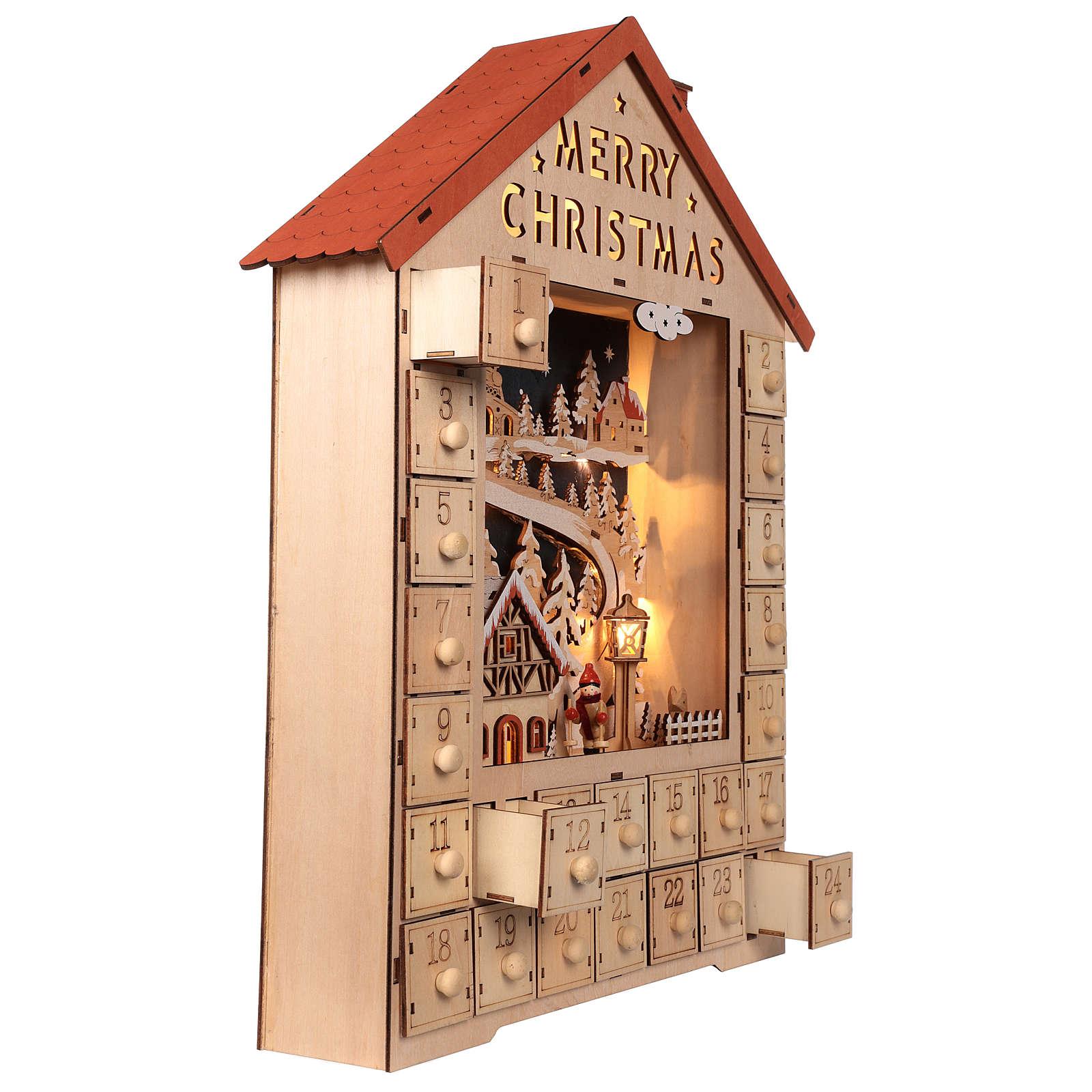 Calendario de Adviento de madera con cajones 50x30x5 cm 3