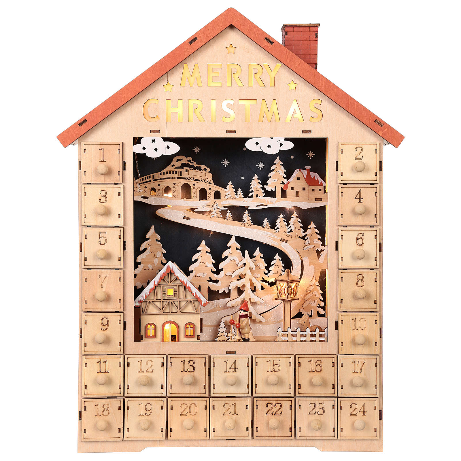 Calendario dell'Avvento in legno con cassettini 50x30x5 cm 3