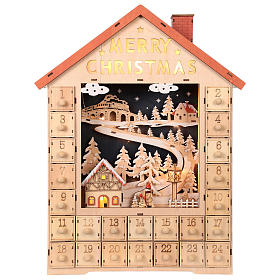 Calendario dell'Avvento in legno con cassettini 50x30x5 cm s1