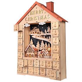 Calendario dell'Avvento in legno con cassettini 50x30x5 cm s3