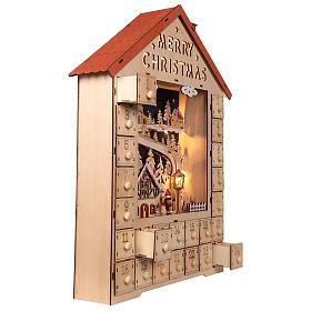 Calendario dell'Avvento in legno con cassettini 50x30x5 cm s5