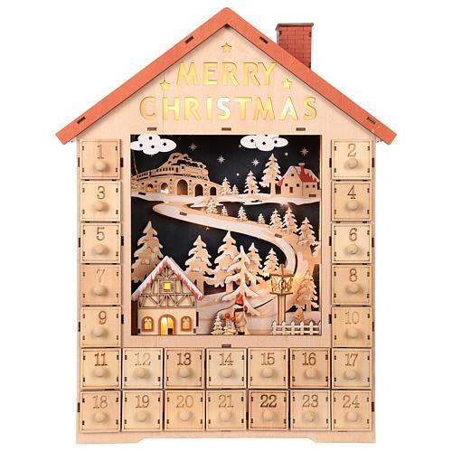Calendario dell'Avvento in legno con cassettini 50x30x5 cm 1