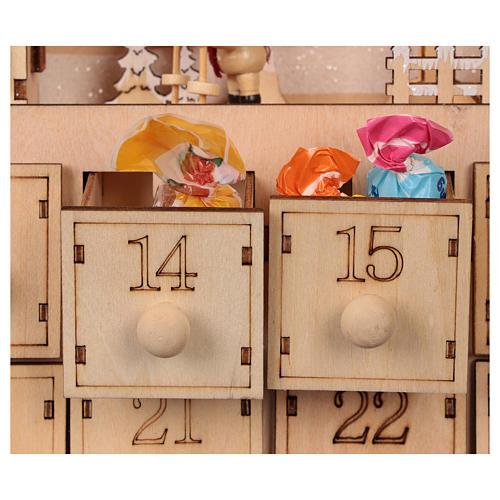 Calendario dell'Avvento in legno con cassettini 50x30x5 cm 2