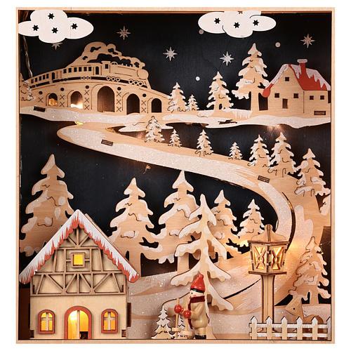 Calendario dell'Avvento in legno con cassettini 50x30x5 cm 4
