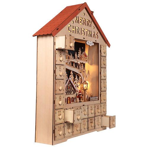 Calendario dell'Avvento in legno con cassettini 50x30x5 cm 5