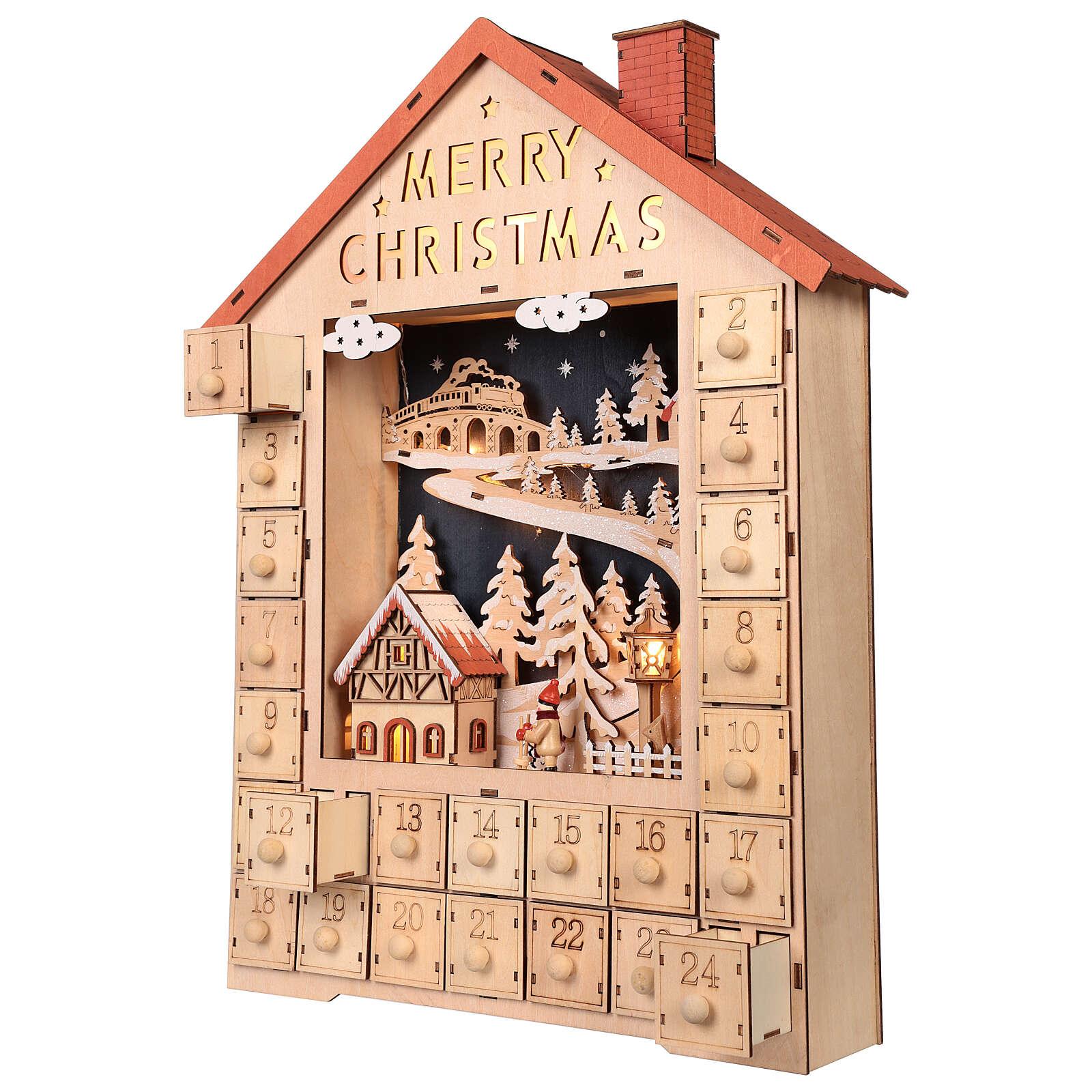 Kalendarz adwentowy z drewna z szufladkami 50x30x5 cm 3