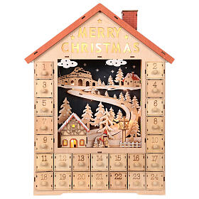 Kalendarz adwentowy z drewna z szufladkami 50x30x5 cm s1