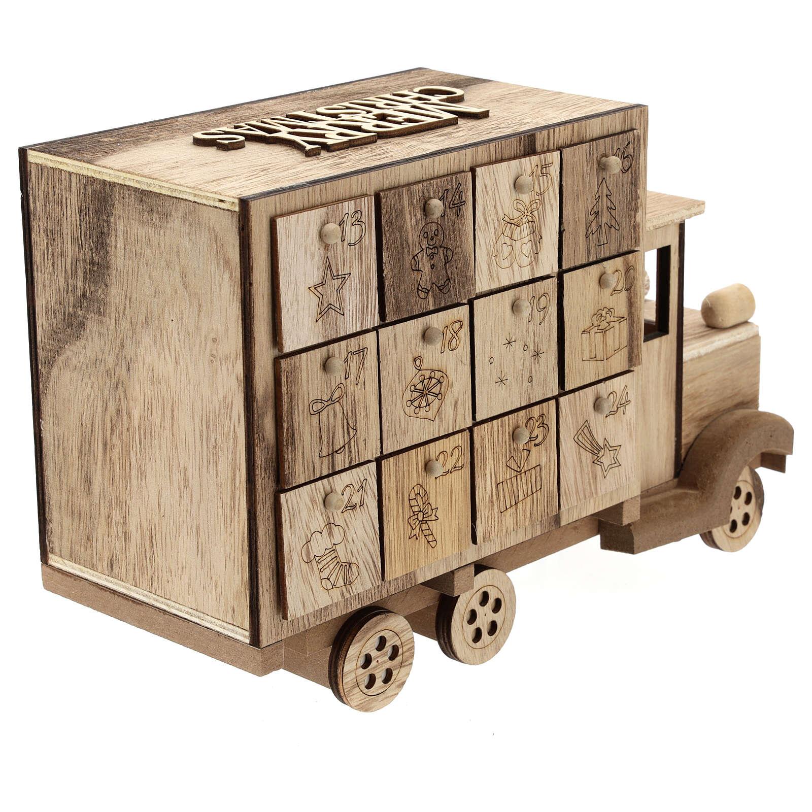 Kalendarz adwentowy w kształcie ciężarówki 20x30x10 cm 3