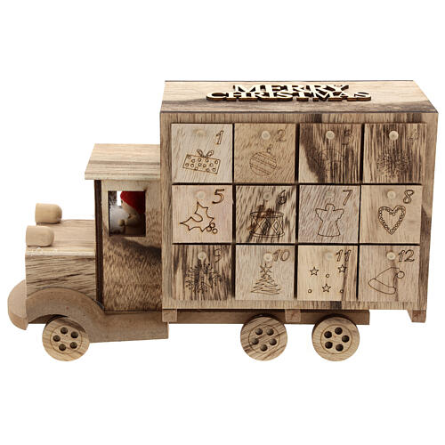 Kalendarz adwentowy w kształcie ciężarówki 20x30x10 cm 1