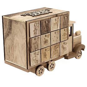 Calendário do Advento madeira carrinha 20x30x10 cm s6