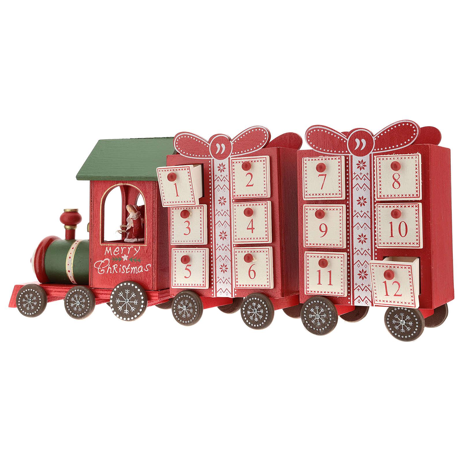 Calendario de Adviento en forma de tren 15x40x10 cm 3