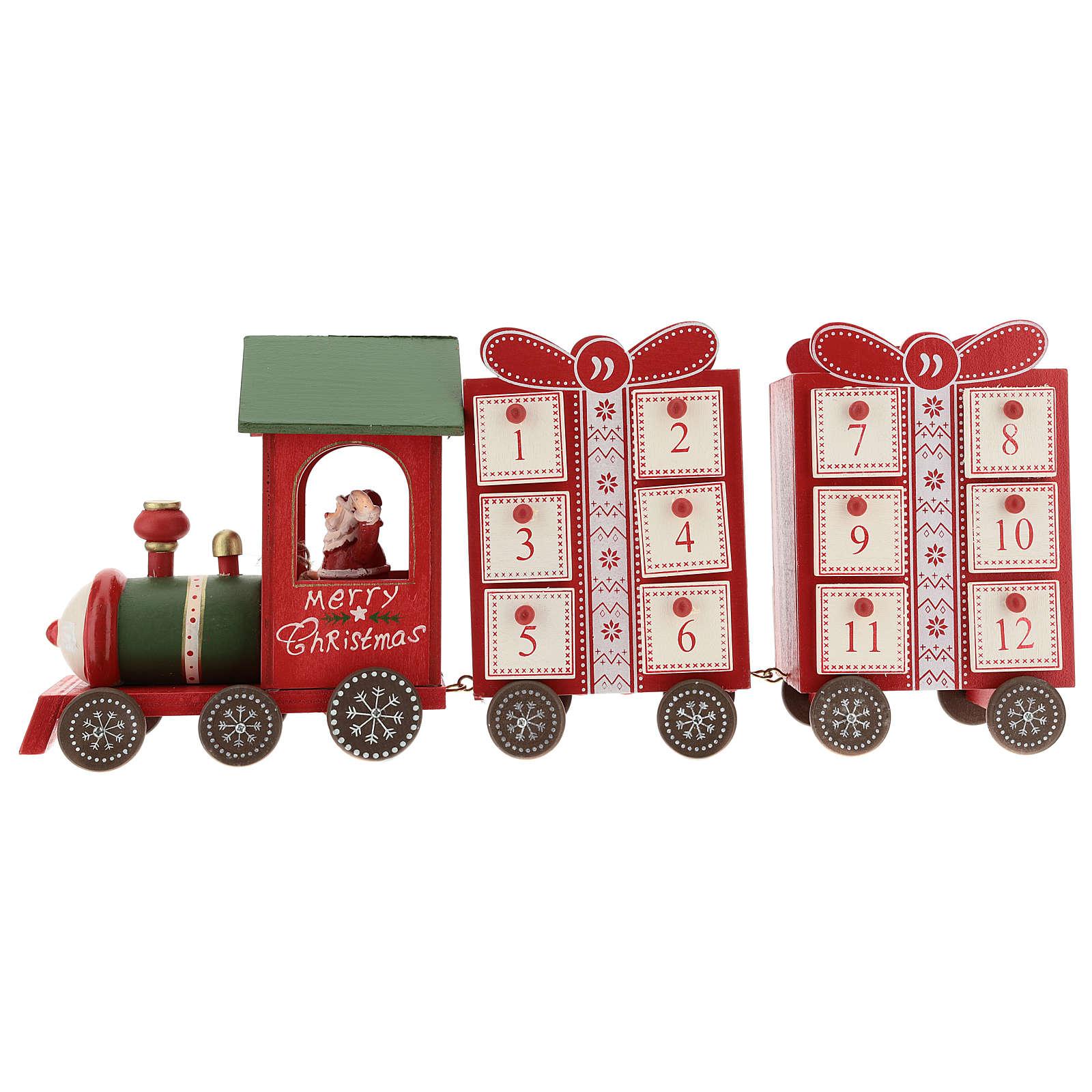 Calendario dell'avvento a forma di trenino 15x40x10 cm 3