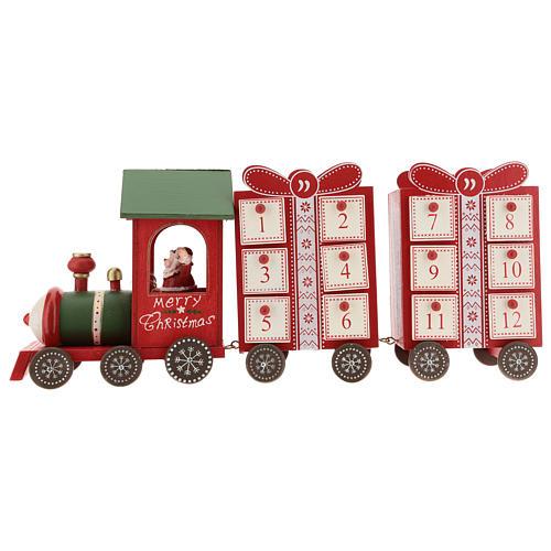 Calendario dell'avvento a forma di trenino 15x40x10 cm 1