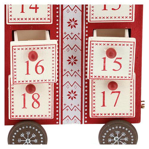 Calendario dell'avvento a forma di trenino 15x40x10 cm 2