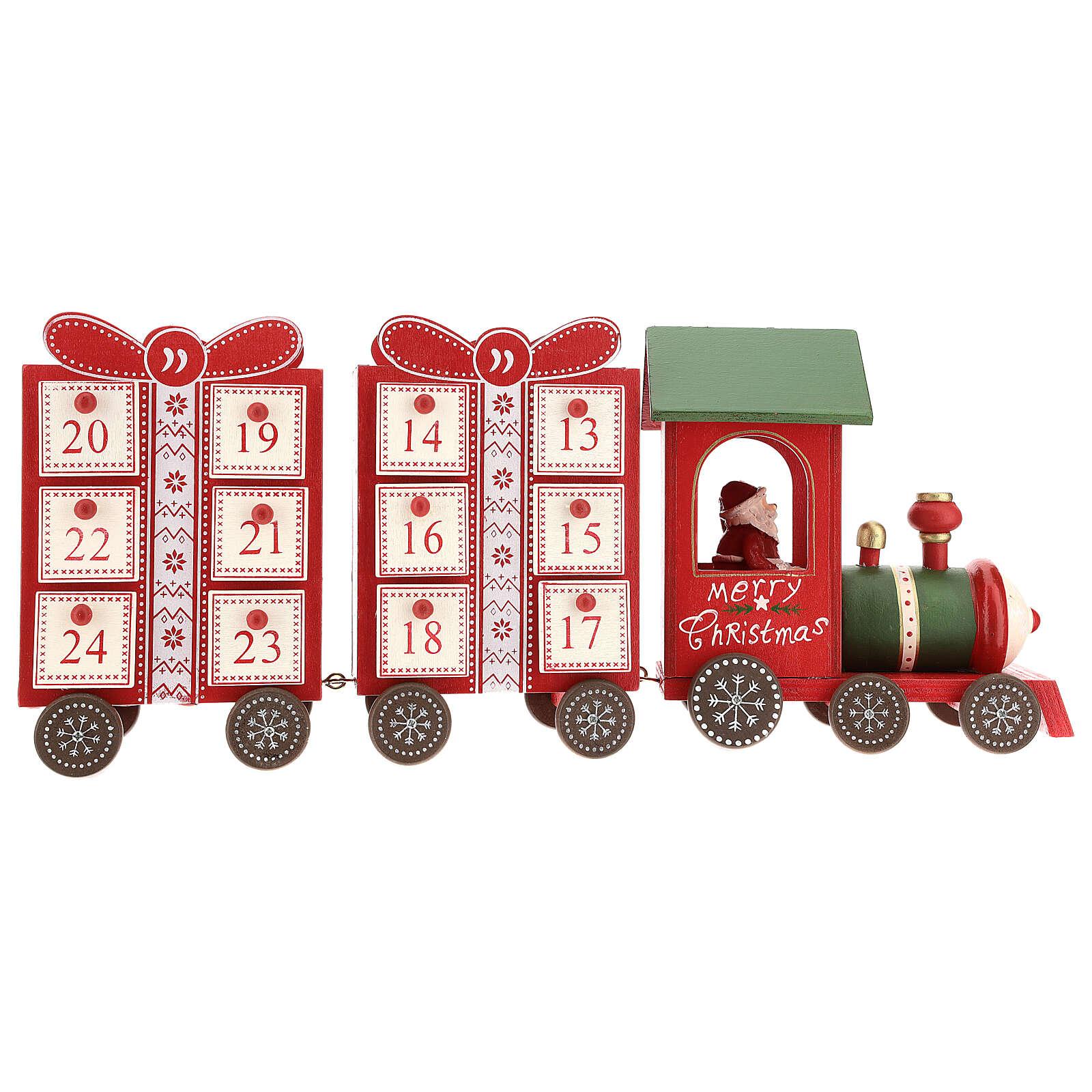 Kalendarz adwentowy w kształcie pociągu 15x40x10 cm 3