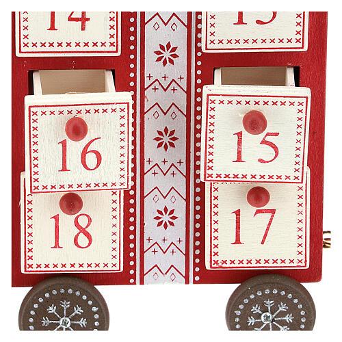 Kalendarz adwentowy w kształcie pociągu 15x40x10 cm 2