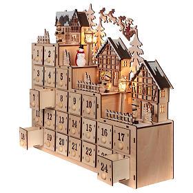 Calendario de Adviento 30x40x10 cm madera luces paisaje navideño s3