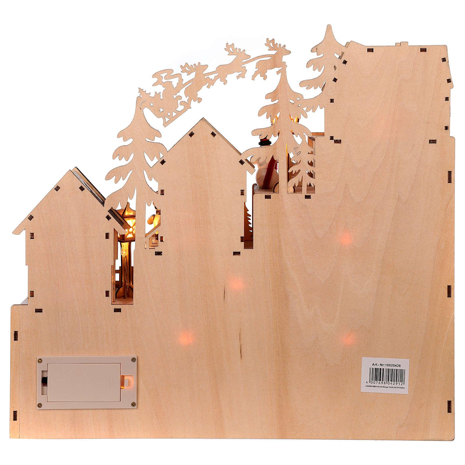 Calendrier de l'Avent 30x40x10 cm bois lumières paysage de Noël 3