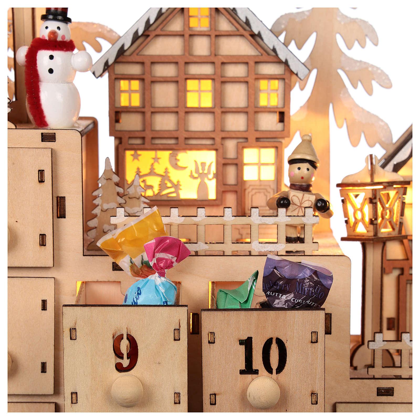 Calendário do Advento madeira paisagem natalina luzes LED 30x40x10 cm 3