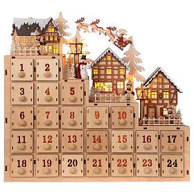 Advento: Calendário do Advento madeira paisagem natalina luzes LED 30x40x10 cm
