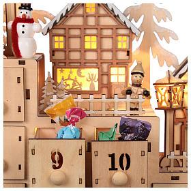 Calendário do Advento madeira paisagem natalina luzes LED 30x40x10 cm s2