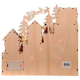 Calendário do Advento madeira paisagem natalina luzes LED 30x40x10 cm s5