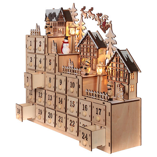 Wooden Advent calendar 30x40x10 cm lights Christmas landscape 3