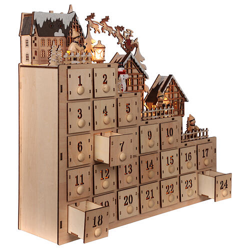 Wooden Advent calendar 30x40x10 cm lights Christmas landscape 4