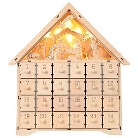 Avvento: Calendario 40x30x10 cm scena natività con luci
